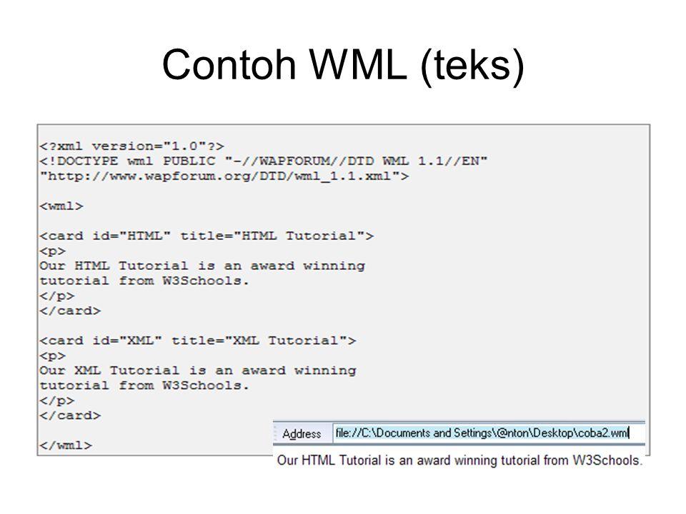 Image Menyisipkan image atau local icon aplikasi dalam tampilan teks –1-bit BMP format, bernama WBMP –Gunakan konverter: WBMP Converter Image diabaikan oleh piranti non bitmap –Cek HTTP_ACCEPT untuk MIME image/bmp Tag: