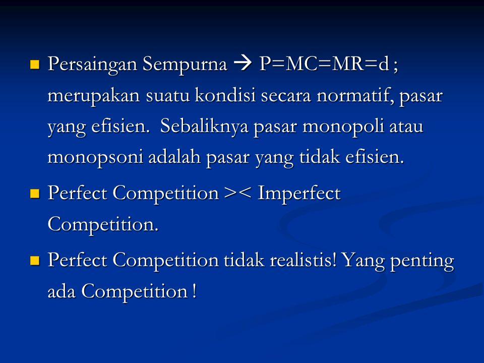 Persaingan Sempurna  P=MC=MR=d ; merupakan suatu kondisi secara normatif, pasar yang efisien.