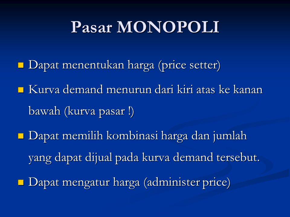 Monopoli dapat disebabkan oleh : 1.Penguasaan bahan baku 2.