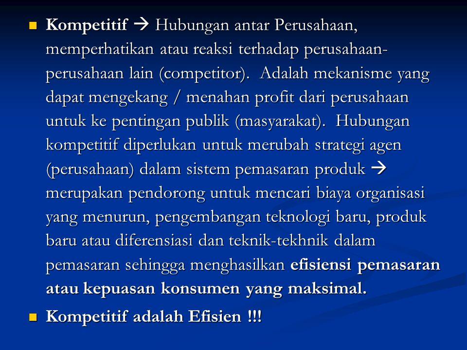 Kompetitif  Hubungan antar Perusahaan, memperhatikan atau reaksi terhadap perusahaan- perusahaan lain (competitor).