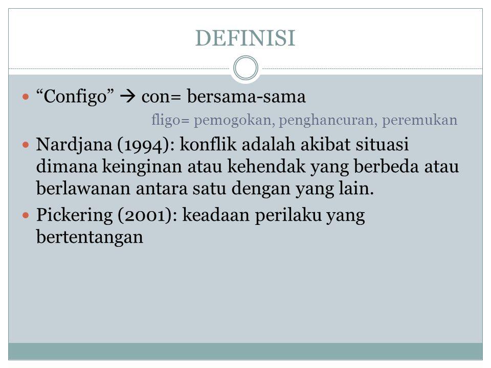 """DEFINISI """"Configo""""  con= bersama-sama fligo= pemogokan, penghancuran, peremukan Nardjana (1994): konflik adalah akibat situasi dimana keinginan atau"""