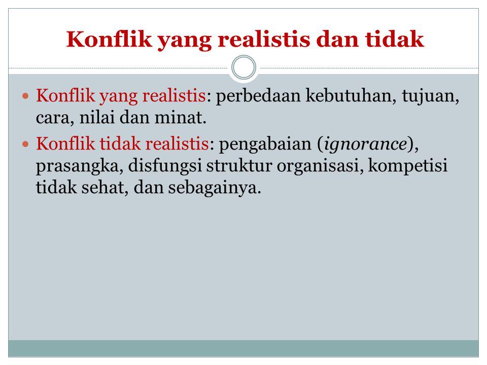 Konflik yang realistis dan tidak Konflik yang realistis: perbedaan kebutuhan, tujuan, cara, nilai dan minat. Konflik tidak realistis: pengabaian (igno