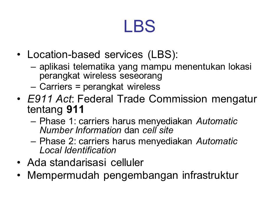 LBS Location-based services (LBS): –aplikasi telematika yang mampu menentukan lokasi perangkat wireless seseorang –Carriers = perangkat wireless E911