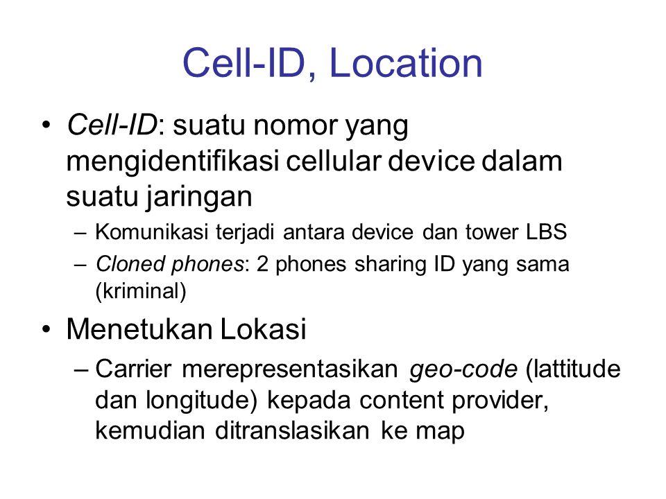 Cell-ID, Location Cell-ID: suatu nomor yang mengidentifikasi cellular device dalam suatu jaringan –Komunikasi terjadi antara device dan tower LBS –Clo