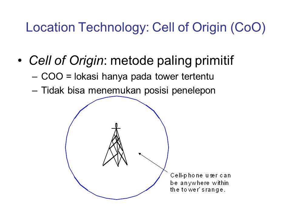 Location Technology: Cell of Origin (CoO) Cell of Origin: metode paling primitif –COO = lokasi hanya pada tower tertentu –Tidak bisa menemukan posisi
