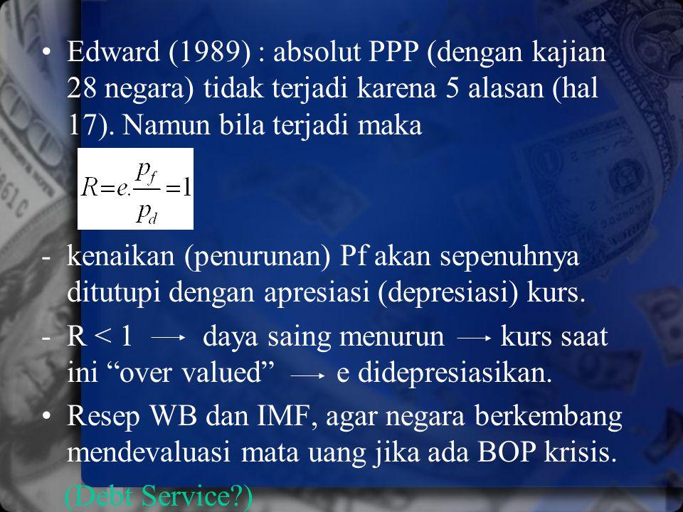 Edward (1989) : absolut PPP (dengan kajian 28 negara) tidak terjadi karena 5 alasan (hal 17). Namun bila terjadi maka - kenaikan (penurunan) Pf akan s