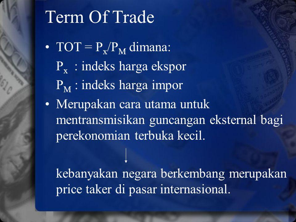 Term Of Trade TOT = P x /P M dimana: P x : indeks harga ekspor P M : indeks harga impor Merupakan cara utama untuk mentransmisikan guncangan eksternal