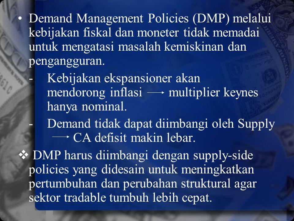 Demand Management Policies (DMP) melalui kebijakan fiskal dan moneter tidak memadai untuk mengatasi masalah kemiskinan dan pengangguran. - Kebijakan e