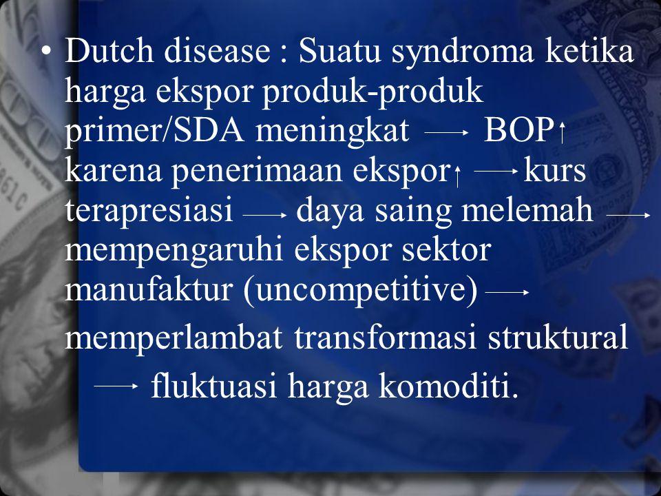 Dutch disease : Suatu syndroma ketika harga ekspor produk-produk primer/SDA meningkat BOP karena penerimaan ekspor kurs terapresiasi daya saing melema