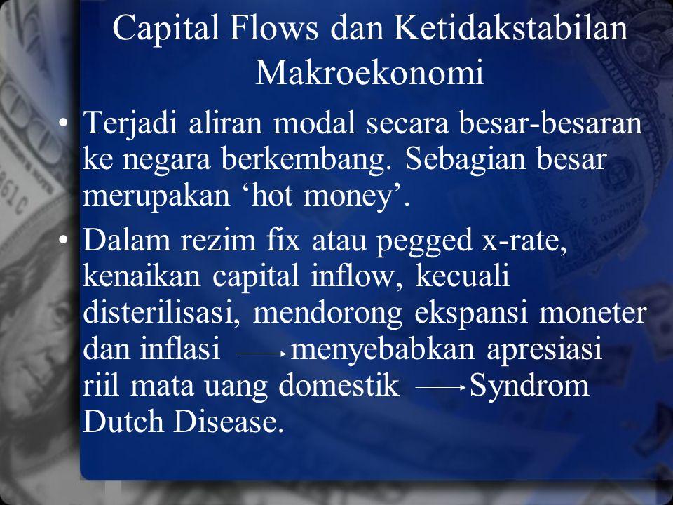 Capital Flows dan Ketidakstabilan Makroekonomi Terjadi aliran modal secara besar-besaran ke negara berkembang. Sebagian besar merupakan 'hot money'. D