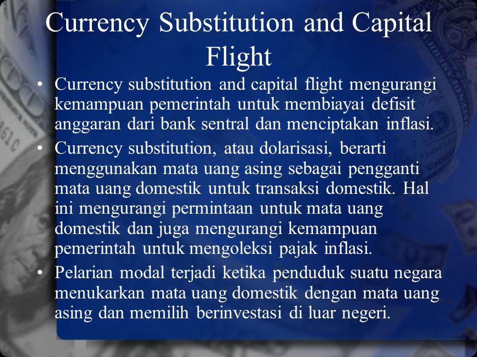 Currency Substitution and Capital Flight Currency substitution and capital flight mengurangi kemampuan pemerintah untuk membiayai defisit anggaran dar