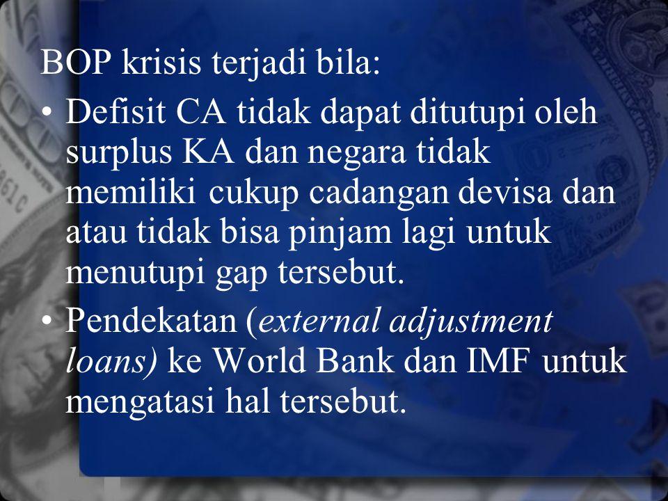BOP krisis terjadi bila: Defisit CA tidak dapat ditutupi oleh surplus KA dan negara tidak memiliki cukup cadangan devisa dan atau tidak bisa pinjam la