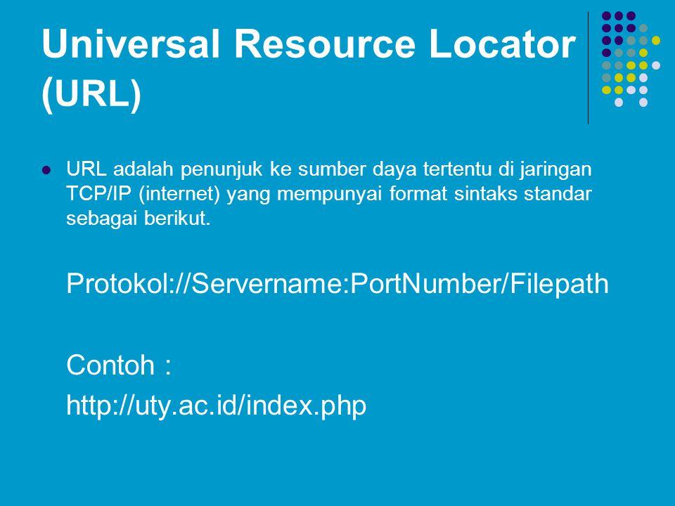 Universal Resource Locator ( URL) URL adalah penunjuk ke sumber daya tertentu di jaringan TCP/IP (internet) yang mempunyai format sintaks standar seba