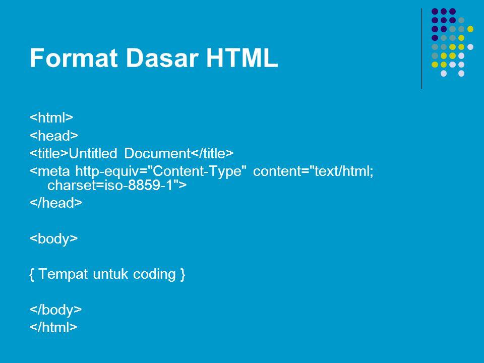 Format Dasar HTML Untitled Document { Tempat untuk coding }