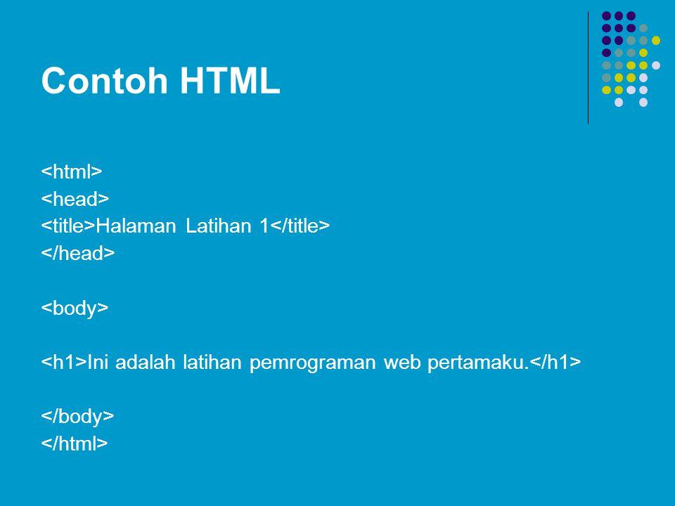 Contoh HTML Halaman Latihan 1 Ini adalah latihan pemrograman web pertamaku.