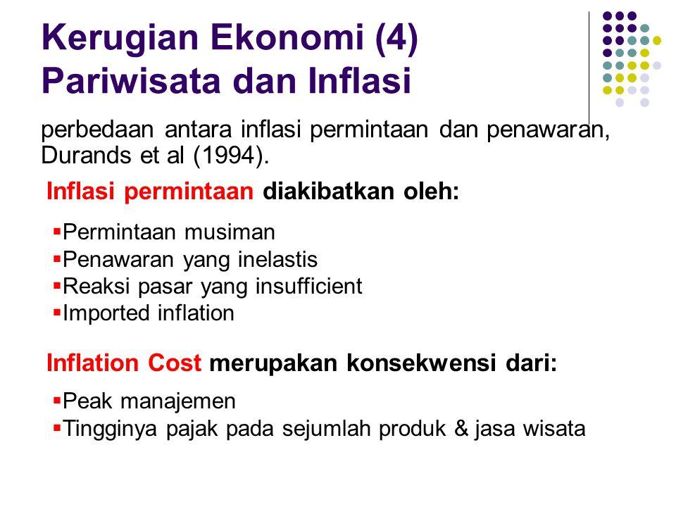 Kerugian Ekonomi (4) Pariwisata dan Inflasi perbedaan antara inflasi permintaan dan penawaran, Durands et al (1994). Inflasi permintaan diakibatkan ol