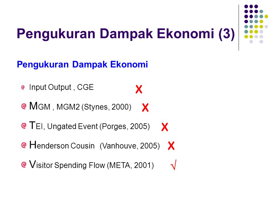Pengukuran Dampak Ekonomi (3) Pengukuran Dampak Ekonomi Input Output, CGE M GM, MGM2 (Stynes, 2000) T EI, Ungated Event (Porges, 2005) H enderson Cous