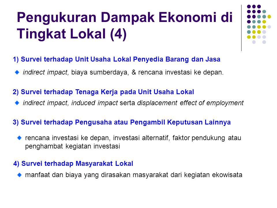 Pengukuran Dampak Ekonomi di Tingkat Lokal (4) 1) Survei terhadap Unit Usaha Lokal Penyedia Barang dan Jasa indirect impact, biaya sumberdaya, & renca