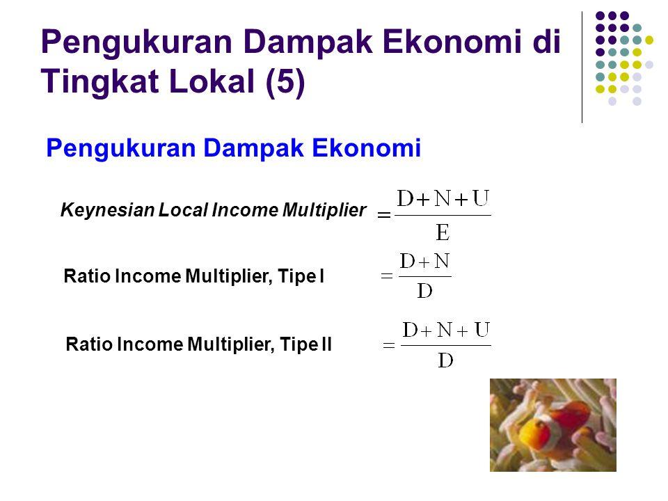 Pengukuran Dampak Ekonomi di Tingkat Lokal (5) Pengukuran Dampak Ekonomi Keynesian Local Income Multiplier Ratio Income Multiplier, Tipe I Ratio Incom
