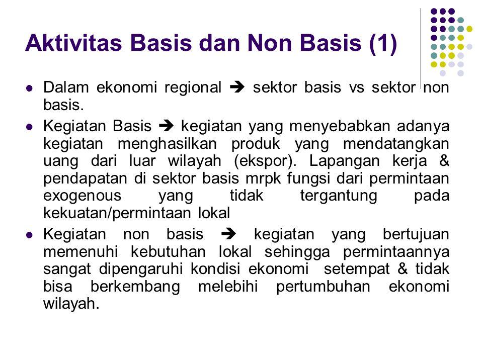 Aktivitas Basis dan Non Basis (1) Dalam ekonomi regional  sektor basis vs sektor non basis. Kegiatan Basis  kegiatan yang menyebabkan adanya kegiata