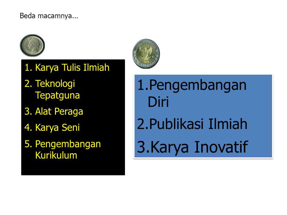 1.Karya Tulis Ilmiah 2.Teknologi Tepatguna 3.Alat Peraga 4.Karya Seni 5.Pengembangan KurikulumB 1.Pengembangan Diri 2.Publikasi Ilmiah 3.Karya Inovatif 1.Pengembangan Diri 2.Publikasi Ilmiah 3.Karya Inovatif Beda macamnya...