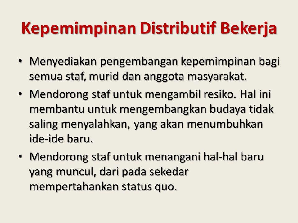 Kepemimpinan Distributif Bekerja Menyediakan pengembangan kepemimpinan bagi semua staf, murid dan anggota masyarakat. Menyediakan pengembangan kepemim