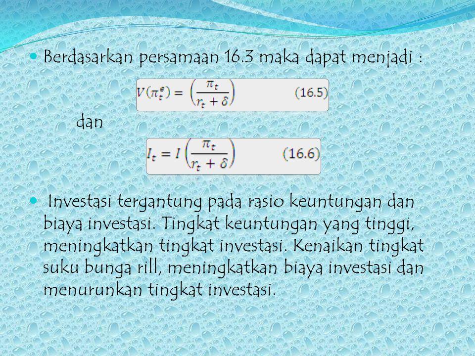 Berdasarkan persamaan 16.3 maka dapat menjadi : dan Investasi tergantung pada rasio keuntungan dan biaya investasi. Tingkat keuntungan yang tinggi, me