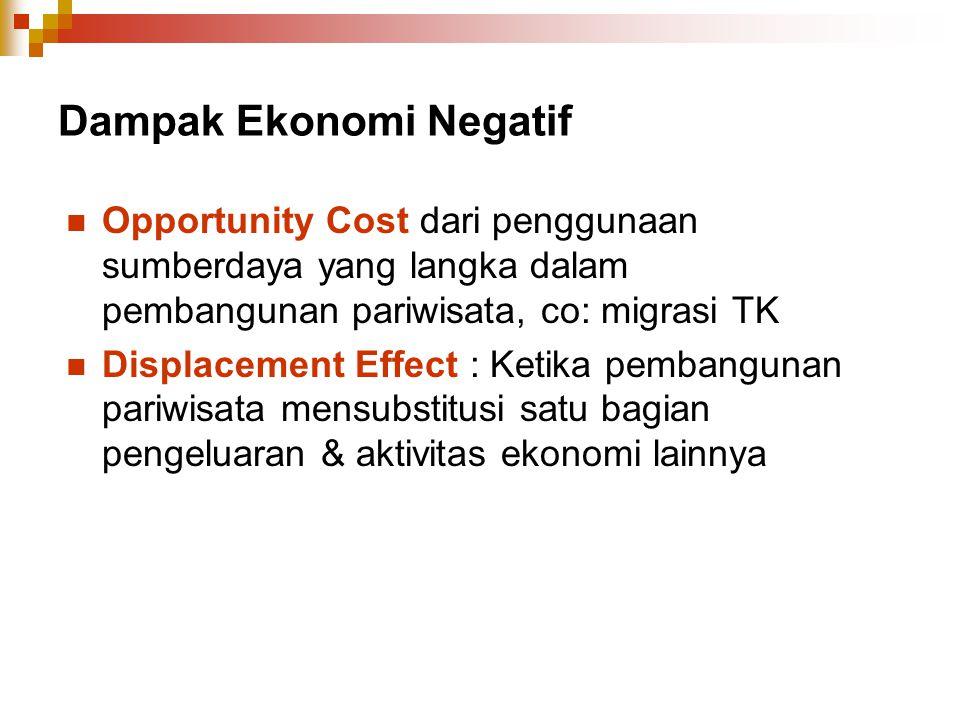 Dampak Ekonomi Negatif Opportunity Cost dari penggunaan sumberdaya yang langka dalam pembangunan pariwisata, co: migrasi TK Displacement Effect : Keti
