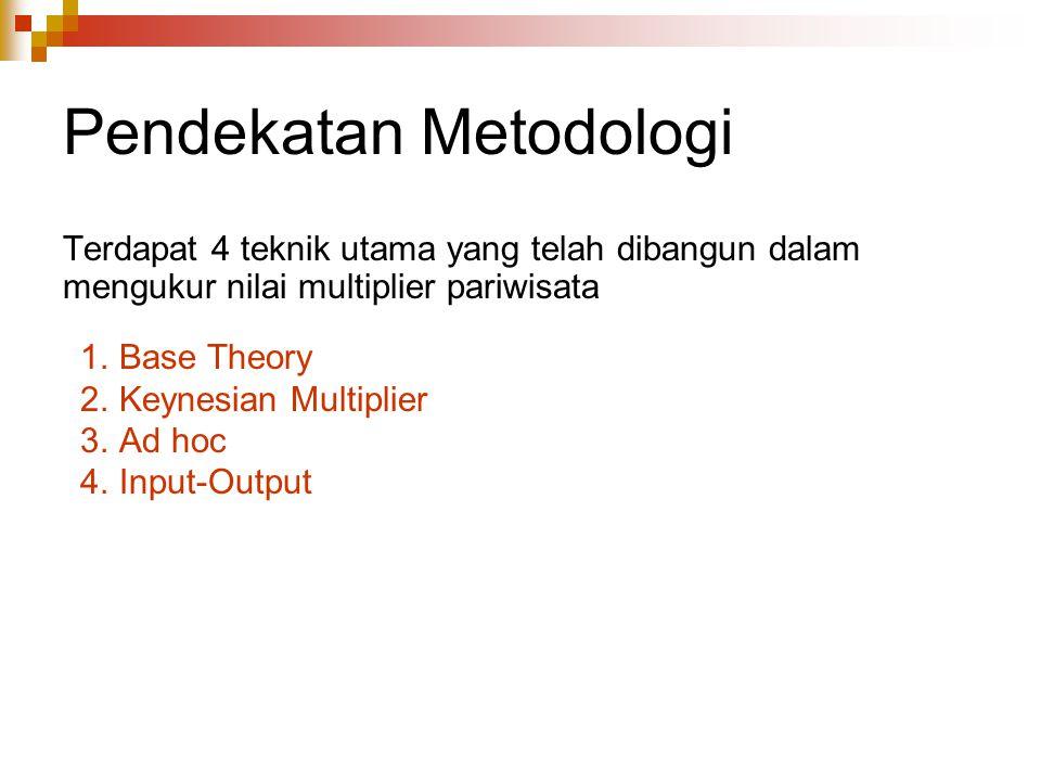Pendekatan Metodologi Terdapat 4 teknik utama yang telah dibangun dalam mengukur nilai multiplier pariwisata 1.Base Theory 2.Keynesian Multiplier 3.Ad