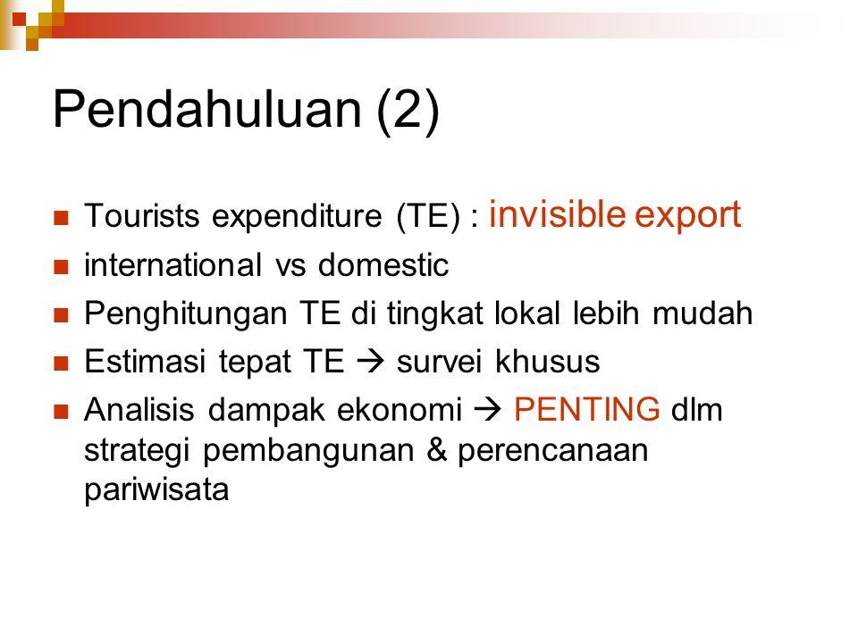 Pendahuluan (2) Tourists expenditure (TE) : invisible export international vs domestic Penghitungan TE di tingkat lokal lebih mudah Estimasi tepat TE
