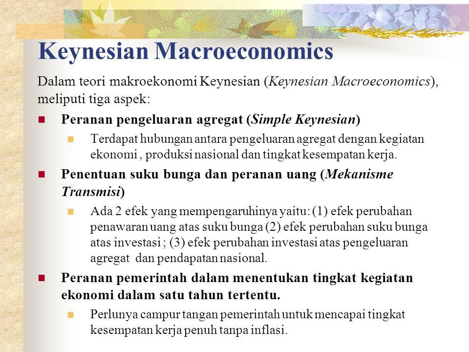 Keynesian Macroeconomics Dalam teori makroekonomi Keynesian (Keynesian Macroeconomics), meliputi tiga aspek: Peranan pengeluaran agregat (Simple Keynesian) Terdapat hubungan antara pengeluaran agregat dengan kegiatan ekonomi, produksi nasional dan tingkat kesempatan kerja.