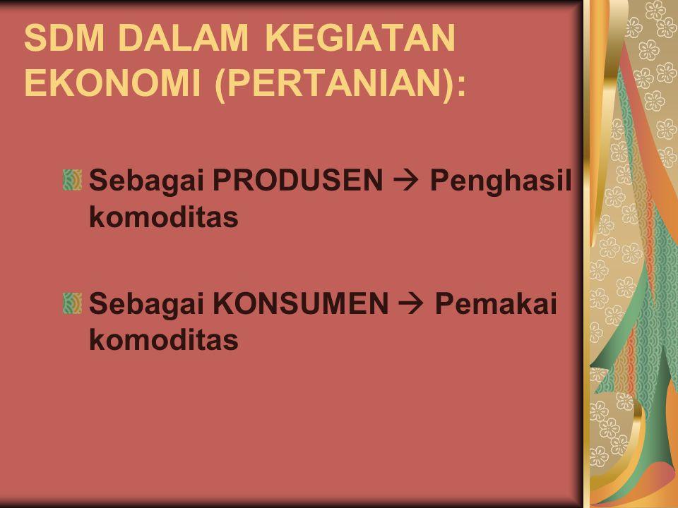 SDM DALAM KEGIATAN EKONOMI (PERTANIAN): Sebagai PRODUSEN  Penghasil komoditas Sebagai KONSUMEN  Pemakai komoditas