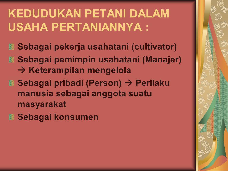 KEDUDUKAN PETANI DALAM USAHA PERTANIANNYA : Sebagai pekerja usahatani (cultivator) Sebagai pemimpin usahatani (Manajer)  Keterampilan mengelola Sebagai pribadi (Person)  Perilaku manusia sebagai anggota suatu masyarakat Sebagai konsumen