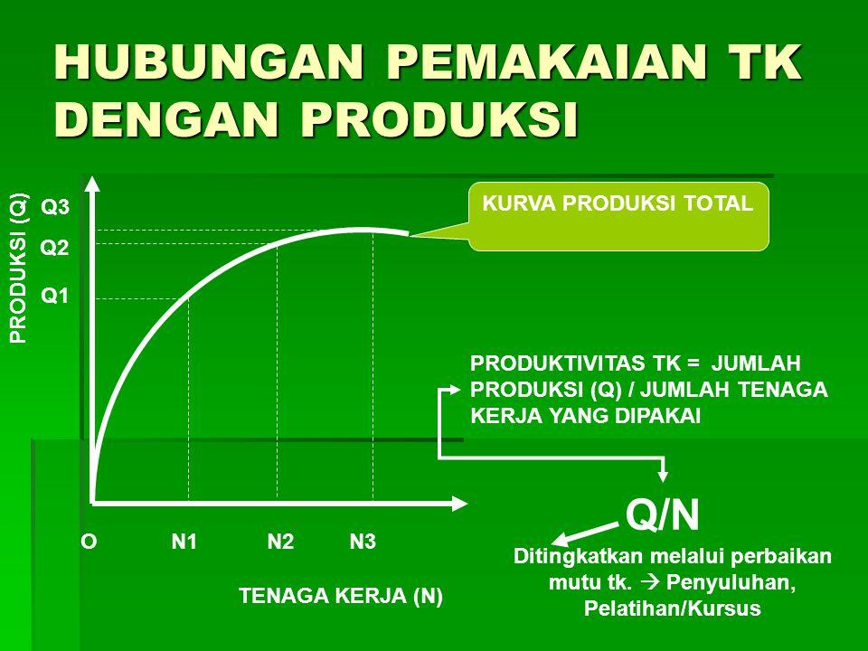 HUBUNGAN PEMAKAIAN TK DENGAN PRODUKSI PRODUKSI (Q) TENAGA KERJA (N) O KURVA PRODUKSI TOTAL N2N1N3 Q1 Q2 Q3 PRODUKTIVITAS TK = JUMLAH PRODUKSI (Q) / JU