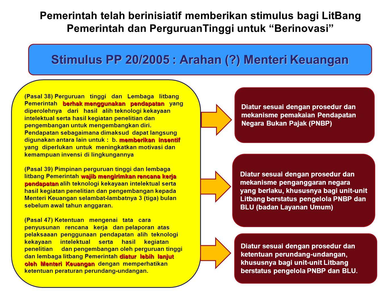 Stimulus PP 20/2005 : Arahan (?) Menteri Keuangan Diatur sesuai dengan prosedur dan mekanisme pemakaian Pendapatan Negara Bukan Pajak (PNBP) berhak me
