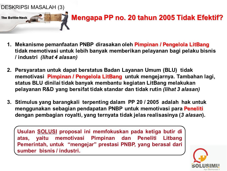 The Bottle-Neck DESKRIPSI MASALAH (3) Mengapa PP no. 20 tahun 2005 Tidak Efektif? Pimpinan / Pengelola LitBang 1.Mekanisme pemanfaatan PNBP dirasakan