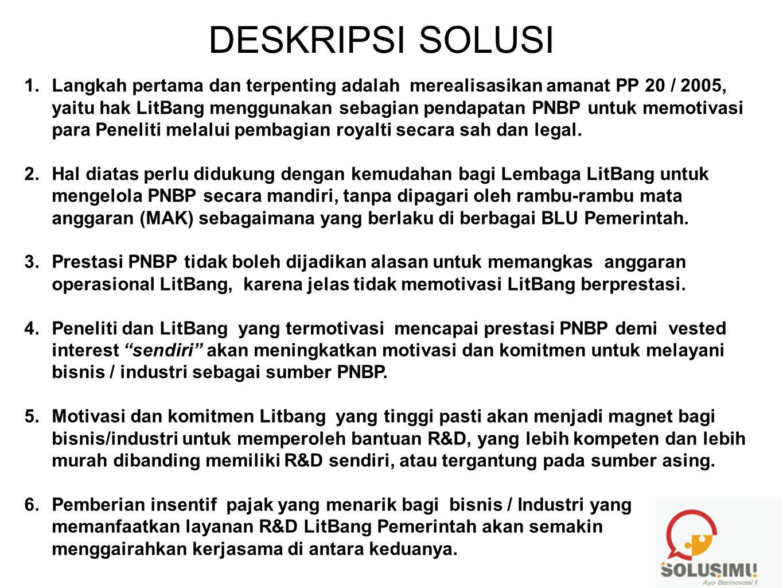 DESKRIPSI SOLUSI 1.Langkah pertama dan terpenting adalah merealisasikan amanat PP 20 / 2005, yaitu hak LitBang menggunakan sebagian pendapatan PNBP un