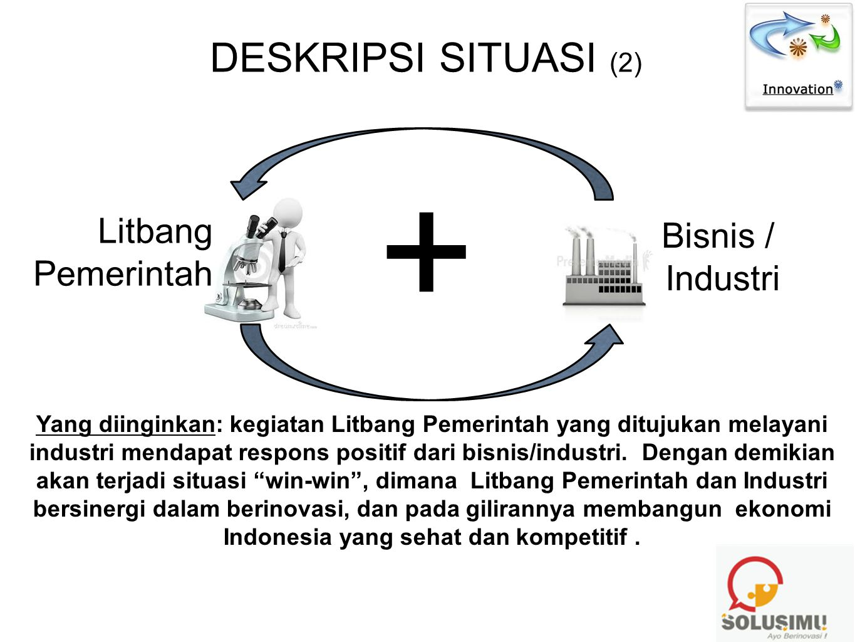 DESKRIPSI SITUASI (2) Bisnis / Industri Litbang Pemerintah + Yang diinginkan: kegiatan Litbang Pemerintah yang ditujukan melayani industri mendapat re