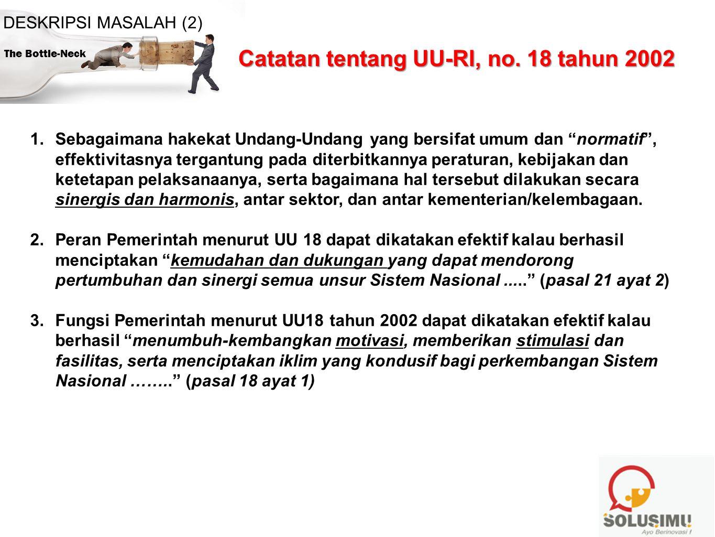 PERATURAN PEMERINTAH REPUBLIK INDONESIA NOMOR 35 TAHUN 2005 TENTANG PENGALOKASIAN SEBAGIAN PENDAPATAN BADAN USAHA UNTUK PENINGKATAN KEMAMPUAN PEREKAYASAAN, INOVASI, DAN DIFUSI TEKNOLOGI The Bottle-Neck DESKRIPSI MASALAH (2)