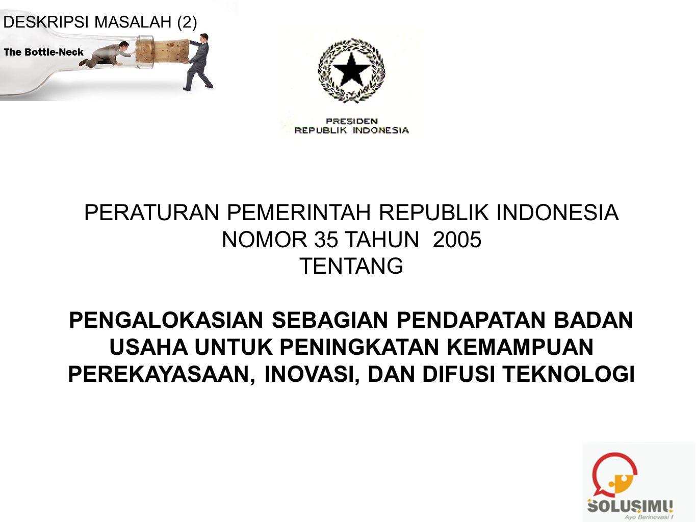 PERATURAN PEMERINTAH REPUBLIK INDONESIA NOMOR 35 TAHUN 2005 TENTANG PENGALOKASIAN SEBAGIAN PENDAPATAN BADAN USAHA UNTUK PENINGKATAN KEMAMPUAN PEREKAYA