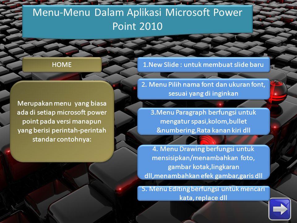 Menu-Menu Dalam Aplikasi Microsoft Power Point 2010 HOME Merupakan menu yang biasa ada di setiap microsoft power point pada versi manapun yang berisi