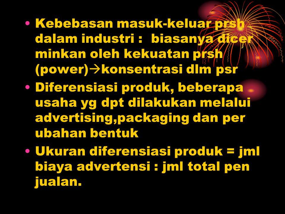 Kebebasan masuk-keluar prsh dalam industri : biasanya dicer minkan oleh kekuatan prsh (power)  konsentrasi dlm psr Diferensiasi produk, beberapa usah