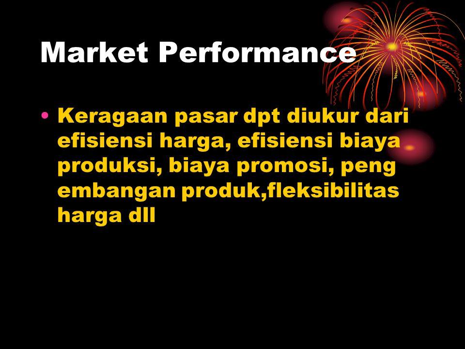 Market Performance Keragaan pasar dpt diukur dari efisiensi harga, efisiensi biaya produksi, biaya promosi, peng embangan produk,fleksibilitas harga d