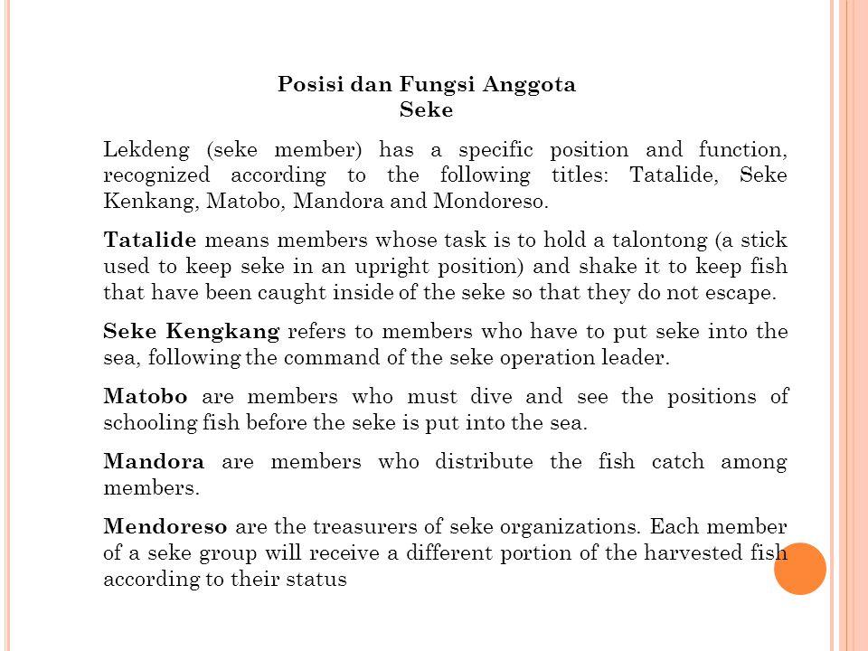 Lekdeng (seke member) has a specific position and function, recognized according to the following titles: Tatalide, Seke Kenkang, Matobo, Mandora and Mondoreso.