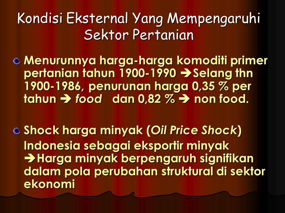 Kondisi Eksternal Yang Mempengaruhi Sektor Pertanian Menurunnya harga-harga komoditi primer pertanian tahun 1900-1990  Selang thn 1900-1986, penurunan harga 0,35 % per tahun  food dan 0,82 %  non food.