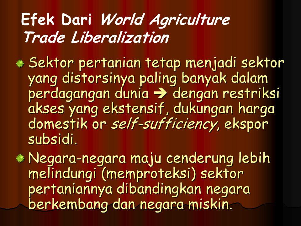 Sektor pertanian tetap menjadi sektor yang distorsinya paling banyak dalam perdagangan dunia  dengan restriksi akses yang ekstensif, dukungan harga domestik or self-sufficiency, ekspor subsidi.
