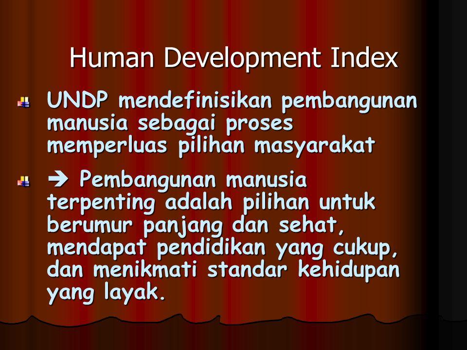 Human Development Index UNDP mendefinisikan pembangunan manusia sebagai proses memperluas pilihan masyarakat  Pembangunan manusia terpenting adalah pilihan untuk berumur panjang dan sehat, mendapat pendidikan yang cukup, dan menikmati standar kehidupan yang layak.