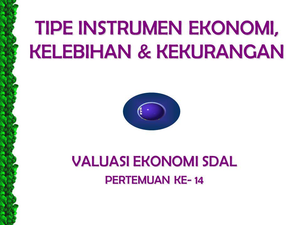 TIPE INSTRUMEN EKONOMI, KELEBIHAN & KEKURANGAN VALUASI EKONOMI SDAL PERTEMUAN KE- 14