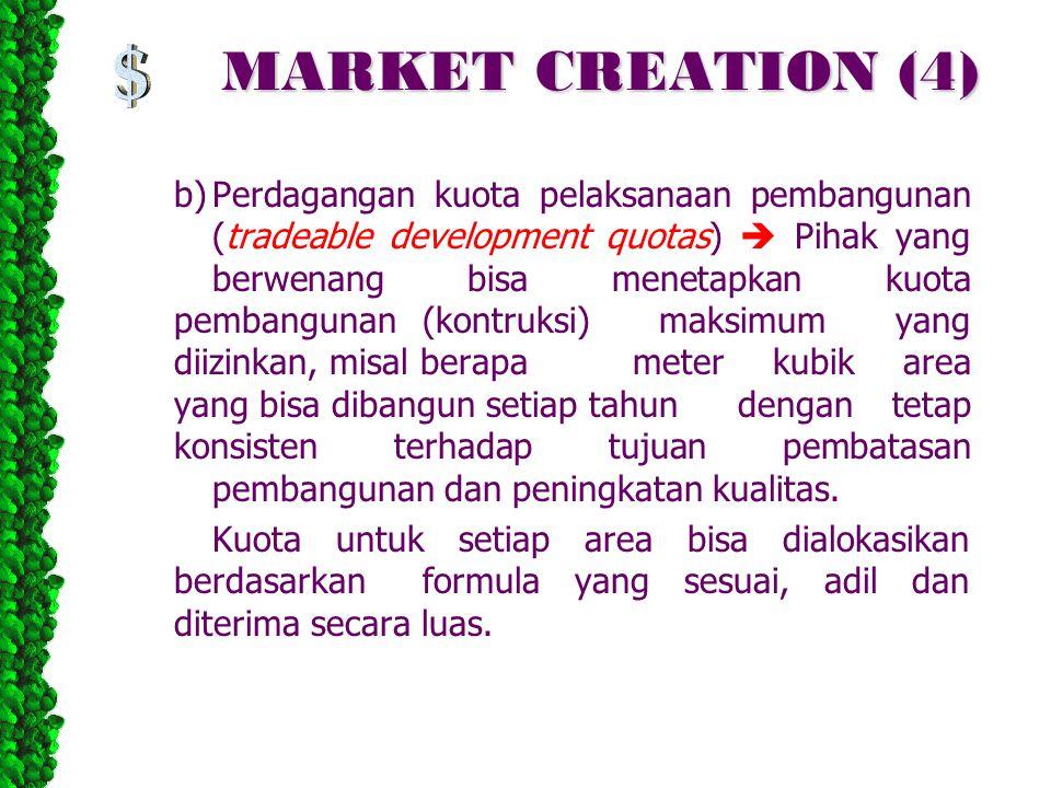 MARKET CREATION (4) b)Perdagangan kuota pelaksanaan pembangunan (tradeable development quotas)  Pihak yang berwenang bisa menetapkan kuota pembanguna