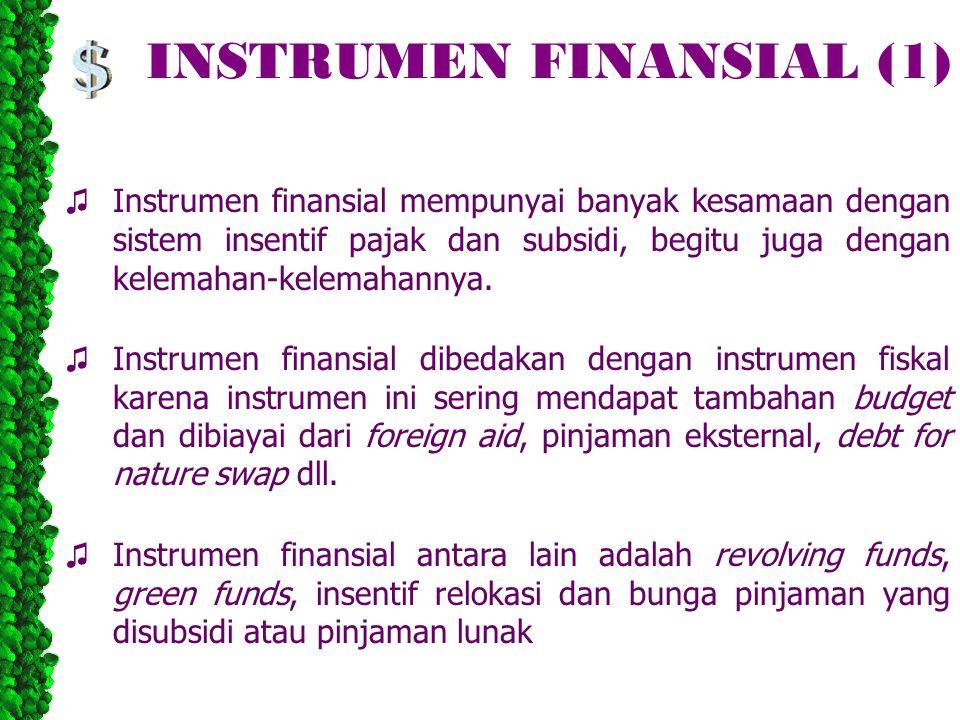 INSTRUMEN FINANSIAL (1) ♫ Instrumen finansial mempunyai banyak kesamaan dengan sistem insentif pajak dan subsidi, begitu juga dengan kelemahan-kelemahannya.